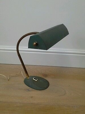 Vintage French Mid Century Goose Neck Banker's Desk Table Lamp