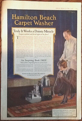 Hamilton Beach carpet washer ad original vintage 1920s art flapper illus Ingerle