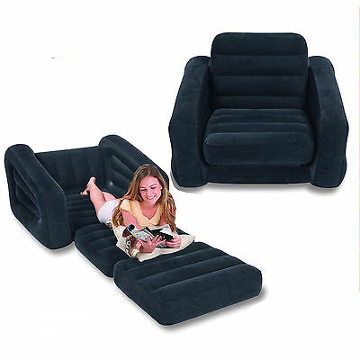Intex Inflatable One Person Pull-Out Chair Bed for Home or Camping #68565