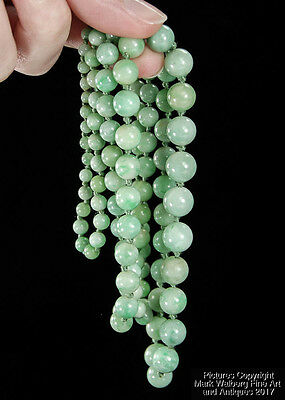 Chinese Natural Green Jadeite Jade Graduated Bead Necklace, Early 20th Century