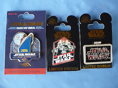STAR WARS Disney Pin LOT of 3 Pins  Cruise  & Limited Edition set 3  New  Card