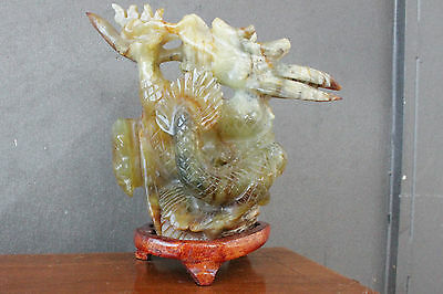 Antique Old Chinese Jade Stone - Dragon Sculpture - Wood Base
