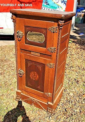 Best Victorian Iceland Antique Lion & Heads Carved Oak Rope Twist Parlor Ice Box
