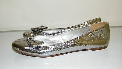 J.Crew Pippa Silver Mirror Leather Bow Ballet Flats Shoes Size 9 Italy 19844