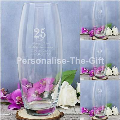Personalised Engraved Wedding Anniversary Glass Vase Silver Ruby Golden Gift