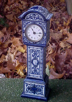 Lovely Antique 19th C DOULTON Porcelain Mantle GRANDFATHER Cameo CLOCK