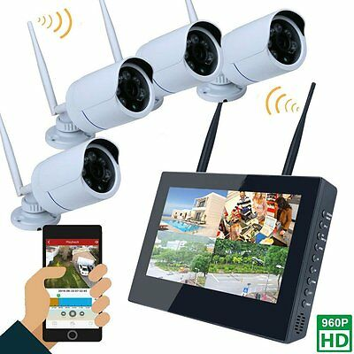 """10"""" LCD Monitor 4CH 960P Wireless DVR Video Security System 4PC Bullet IP Camera"""