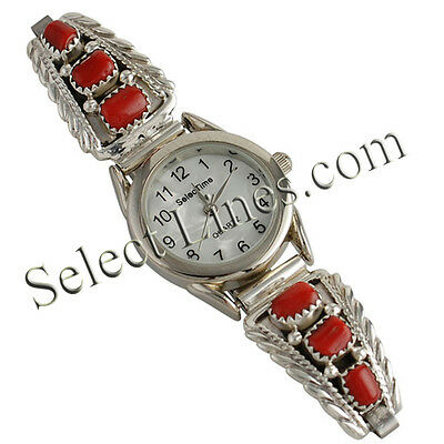 Rose Yazzie Sterling Silver Coral 3 Stone Ladies Watch Navajo Womens Jewelry