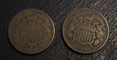 1865 1869 two cents us lot of 2 x two cents circulated