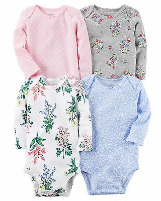 Carter's Baby Girls 4 Pack Long Sleeve Bodysuit 6 Months New Without Tags