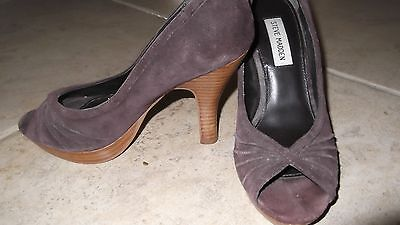 Steve Madden Pawla Womens 7M Brown Leather Suede Heeled Open Toe Pump Shoes