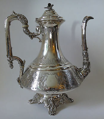 Outstanding solid .950 silver French Coffee Pot - FLAMAND et FILS Premiere Titre