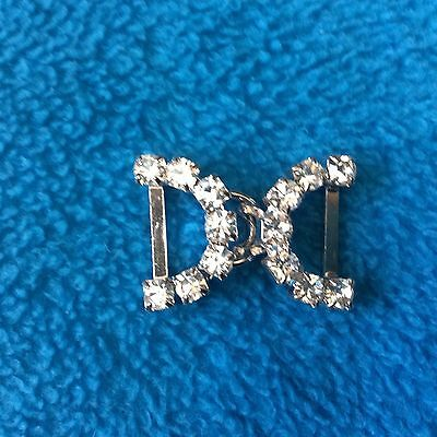 BK107 Pair of Small Crystal Rhinestone clasps/buckles in silver-tone metal