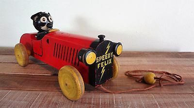 OUTSTANDING Antique 1925 SPEEDY FELIX THE CAT Wood Mechanical Race Car Pull Toy