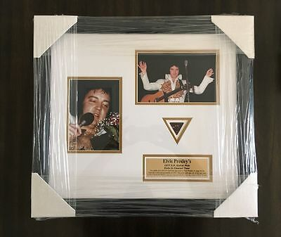 Elvis Presley Used Owned Authentic Concert 1977 Guitar Pic Framed w/ Photo Proof