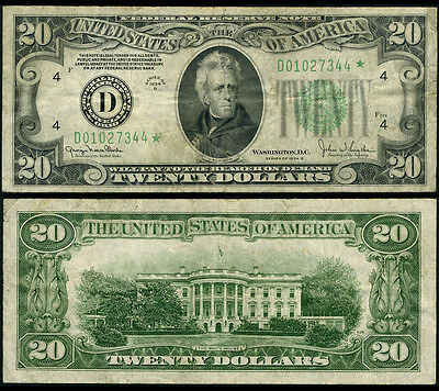 FR. 2058 D* $20 1934-D Federal Reserve Note Cleveland Wide Very Fine Star