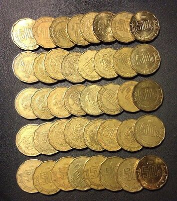 Old Mexico Coin Lot - 40 FIFTY CENTAVOS - Unsearched for Dates - Lot #A9