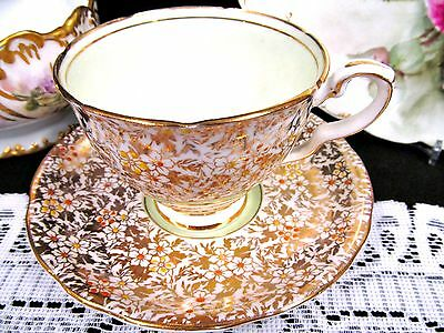 Royal Stafford Tea Cup And Saucer Lime Green Chintz Gold Painted Teacup Pattern