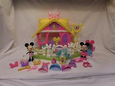 Fisher Price Disney Minnie Mouse Jump n Style Pony Lot With Clothes and Shoes