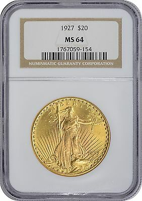 1927 $20 Twenty Dollar Gold MS64 NGC St. Gaudens Mint State 64