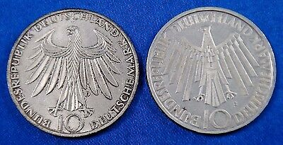1972 D F Germany 10 Deutsche Mark Silver Coin Lot of 2