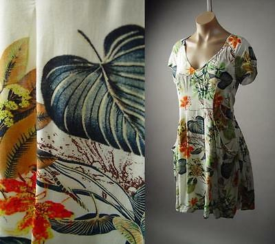 Tropical Leaf Botanical Garden Island Floral Print Party A-Line Sun 224 mv Dress