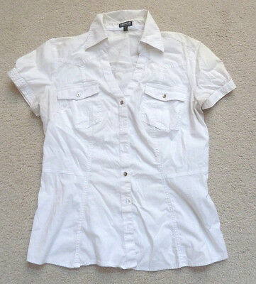 Women's Express Essential Stretch Short Sleeve Blouse/top/white Size Large/euc