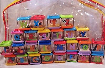 26 Fisher Price Peek A Boo Alphabet Blocks Letters A-Z Complete with Carry Case