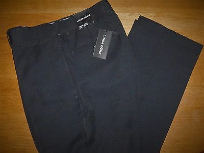 NWT LINEA DOME FLAT FRONT CHARCOAL GRAY PINSTRIPED DRESS PANTS 32 x 30