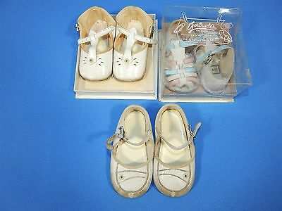 3 Pairs VTG White Child Buckle Shoes & Sandles Girls Size 1 & 2 - NOS