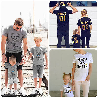 Dad Mom Baby Kid T-shirt Tops Tee Shirt Blouse Family Matching Clothes Outfits