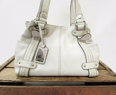 TIGNANELLO White Silver Studded Leather Slouch Shoulder Bag Satchel Tote Purse