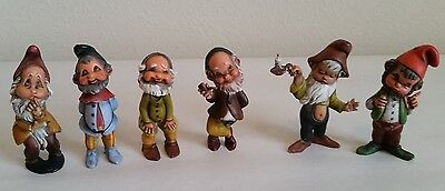 6 Vintage Gnome Dwarf Plastic Figurines Made in Hong Kong