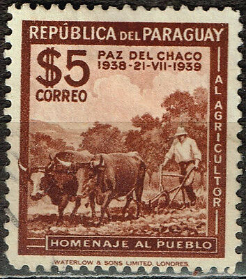 Paraguay Agriculture Farm Cows 1939 classic stamp