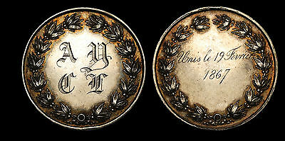 1867 France Love/ Marriage Silver Medal / Token