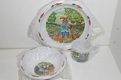 Miracle Melamine Child's Peter Rabbit Plate, Bowl, & Cup-New