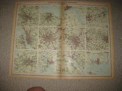 Antique 1922 Bristol Liverpool Glasgow Manchester Plymouth England Scotland Map