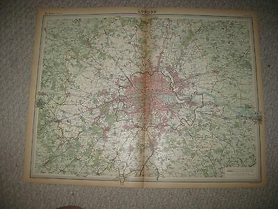 Huge Gorgeous Antique 1922 London England Times Atlas Map Superb Detaileed Rare