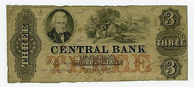1800's $3 The Central Bank - Montgomery, ALABAMA Note