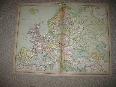 Antique 1922 Europe Political Times Atlas Map Russia England Ireland Germany Nr