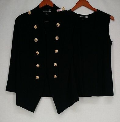 Antthony Size Blazer S Military Jacket And Tank Top Set Black NEW 2nd