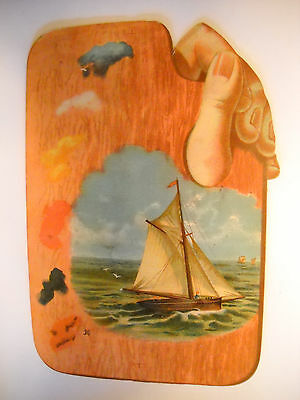 GOODS Victorian antique DIE-CUT TRADE CARD CHROMOLITHO hand palette sail boat