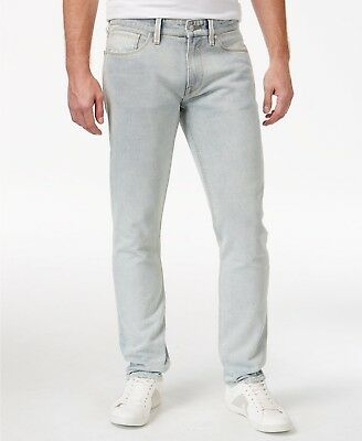 GUESS Men's Destroyed Slim-Fit Tapered Jeans Tapered Leg Heavy Stonewashed