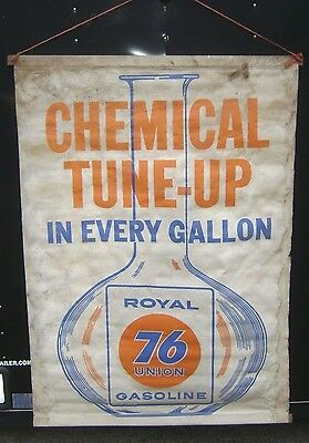 Union 76 Royal Gasoline CHEMICAL TUNE-UP  BANNER - sign -- Very Rare gas station