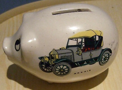 Rare Antique Morris Two Seater Picture Piggy Bank With Stopper