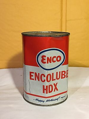 Vintage Steel Oil Can, Full Can, Enco Encolube HDX