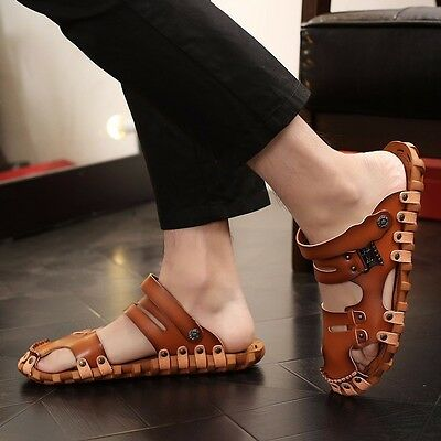 Men's Leather Outdoor Closed Toe Sandals Fisherman Summer Beach Shoes Slippers