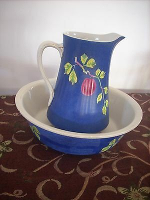 Huge Antique Winterton Ware S.s. & Co Jug And Wash Basin Bowl