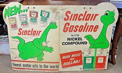 Old Rare Gasoline Motor Oil Sinclair Dinosaur Sign New Promotion 1950's-60s DINO