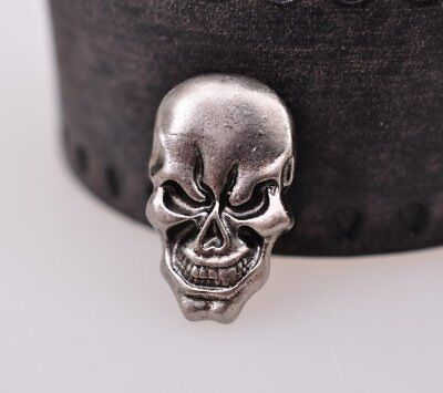 1.7X2.8CM 10pcs Punk Antique Silver Skull Studs Leathercraft Decor Saddle Concho
